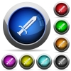Sword round glossy buttons - Sword icons in round glossy buttons with steel frames