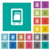 Mobile memory card square flat multi colored icons - Mobile memory card multi colored flat icons on plain square backgrounds. Included white and darker icon variations for hover or active effects.
