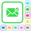 Mail sent vivid colored flat icons - Mail sent vivid colored flat icons in curved borders on white background
