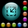 Resize element icons in color illuminated glass buttons - Resize element icons in color illuminated spherical glass buttons on black background. Can be used to black or dark templates