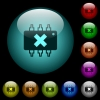 Hardware failure icons in color illuminated glass buttons - Hardware failure icons in color illuminated spherical glass buttons on black background. Can be used to black or dark templates