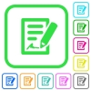 Signing contract vivid colored flat icons - Signing contract vivid colored flat icons in curved borders on white background