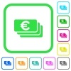 Euro banknotes vivid colored flat icons - Euro banknotes vivid colored flat icons in curved borders on white background