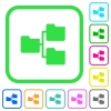 Shared folders vivid colored flat icons - Shared folders vivid colored flat icons in curved borders on white background