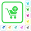Add item to cart vivid colored flat icons - Add item to cart vivid colored flat icons in curved borders on white background