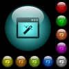Application wizard icons in color illuminated glass buttons - Application wizard icons in color illuminated spherical glass buttons on black background. Can be used to black or dark templates