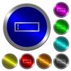 Editbox with editing cursor luminous coin-like round color buttons - Editbox with editing cursor icons on round luminous coin-like color steel buttons