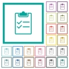 Checklist flat color icons with quadrant frames - Checklist flat color icons with quadrant frames on white background