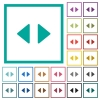 Horizontal control arrows flat color icons with quadrant frames - Horizontal control arrows flat color icons with quadrant frames on white background
