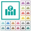 Indian Rupee financial graph flat color icons with quadrant frames - Indian Rupee financial graph flat color icons with quadrant frames on white background