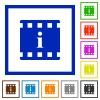 Movie information flat framed icons - Movie information flat color icons in square frames on white background