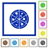 Pizza flat framed icons - Pizza flat color icons in square frames on white background