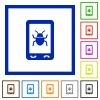 Malicious mobile software flat framed icons - Malicious mobile software flat color icons in square frames on white background