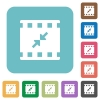 Movie resize small rounded square flat icons - Movie resize small white flat icons on color rounded square backgrounds
