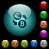 Euro Bitcoin money exchange icons in color illuminated glass buttons - Euro Bitcoin money exchange icons in color illuminated spherical glass buttons on black background. Can be used to black or dark templates