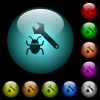 Bug fixing icons in color illuminated glass buttons - Bug fixing icons in color illuminated spherical glass buttons on black background. Can be used to black or dark templates
