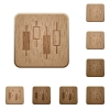 Candlestick chart wooden buttons - Candlestick chart on rounded square carved wooden button styles