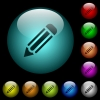 Single pencil icons in color illuminated glass buttons - Single pencil icons in color illuminated spherical glass buttons on black background. Can be used to black or dark templates