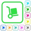 Hand truck vivid colored flat icons - Hand truck vivid colored flat icons in curved borders on white background