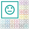 Neutral emoticon flat color icons with quadrant frames - Neutral emoticon flat color icons with quadrant frames on white background