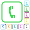 Telephone call vivid colored flat icons in curved borders on white background