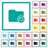 Cloud directory flat color icons with quadrant frames - Cloud directory flat color icons with quadrant frames on white background