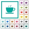 Cup of coffee flat color icons with quadrant frames - Cup of coffee flat color icons with quadrant frames on white background