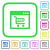 Webshop application vivid colored flat icons - Webshop application vivid colored flat icons in curved borders on white background