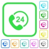 All day service vivid colored flat icons - All day service vivid colored flat icons in curved borders on white background