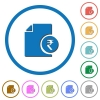 Indian Rupee financial report icons with shadows and outlines - Indian Rupee financial report flat color vector icons with shadows in round outlines on white background