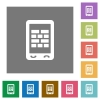 Mobile firewall square flat icons - Mobile firewall flat icons on simple color square backgrounds