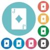 Jack of diamonds card flat round icons - Jack of diamonds card flat white icons on round color backgrounds
