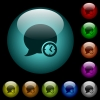 Blog comment time icons in color illuminated glass buttons - Blog comment time icons in color illuminated spherical glass buttons on black background. Can be used to black or dark templates