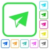Paper plane vivid colored flat icons - Paper plane vivid colored flat icons in curved borders on white background