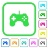 Game controller vivid colored flat icons - Game controller vivid colored flat icons in curved borders on white background