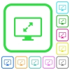 Adjust screen resolution vivid colored flat icons - Adjust screen resolution vivid colored flat icons in curved borders on white background
