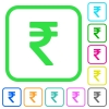 Indian Rupee sign vivid colored flat icons - Indian Rupee sign vivid colored flat icons in curved borders on white background