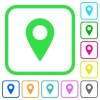 Blank GPS map location vivid colored flat icons - Blank GPS map location vivid colored flat icons in curved borders on white background