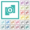 Yen coins flat color icons with quadrant frames - Yen coins flat color icons with quadrant frames on white background