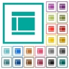 Two columned web layout flat color icons with quadrant frames on white background - Two columned web layout flat color icons with quadrant frames