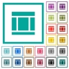 Three columned web layout flat color icons with quadrant frames - Three columned web layout flat color icons with quadrant frames on white background