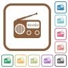 Vintage retro radio simple icons - Vintage retro radio simple icons in color rounded square frames on white background