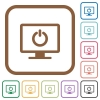 Display standby mode simple icons - Display standby mode simple icons in color rounded square frames on white background