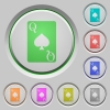 Queen of spades card push buttons - Queen of spades card color icons on sunk push buttons