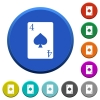 Four of spades card beveled buttons - Four of spades card round color beveled buttons with smooth surfaces and flat white icons