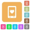 Favorite mobile content rounded square flat icons - Favorite mobile content flat icons on rounded square vivid color backgrounds.