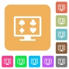 Online gambling flat icons on rounded square vivid color backgrounds. - Online gambling rounded square flat icons