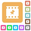 Pin movie rounded square flat icons - Pin movie flat icons on rounded square vivid color backgrounds.