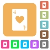 Four of hearts card rounded square flat icons - Four of hearts card flat icons on rounded square vivid color backgrounds.