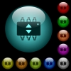 Hardware fine tune icons in color illuminated glass buttons - Hardware fine tune icons in color illuminated spherical glass buttons on black background. Can be used to black or dark templates